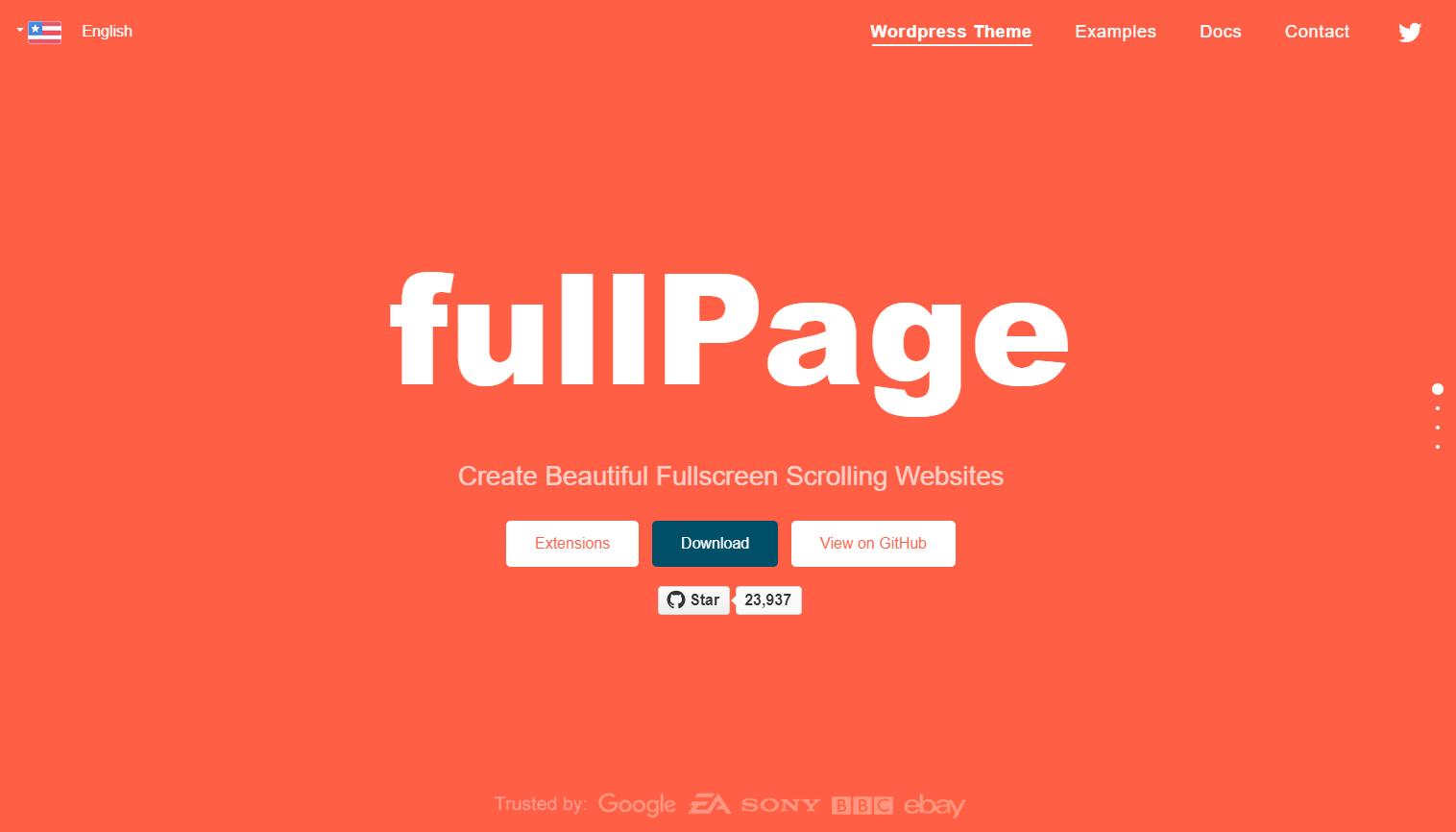 フルスクリーン表示の画面ごとにスクロールするページを作成できるjQueryプラグイン「fullPage.js」