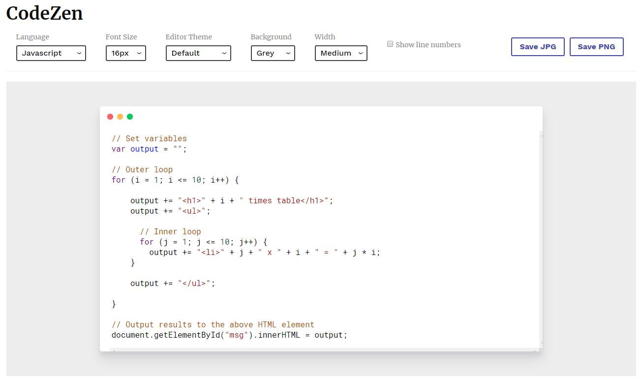 コードを画像化してダウンロードすることができるWEBサービス「CodeZen」