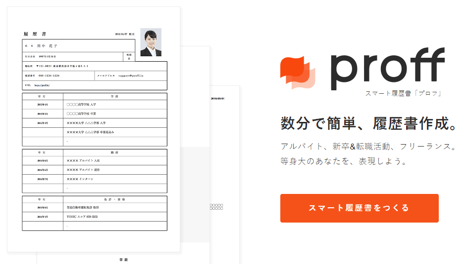 WEB上に履歴書を作成できるWEBサービス「Proff」