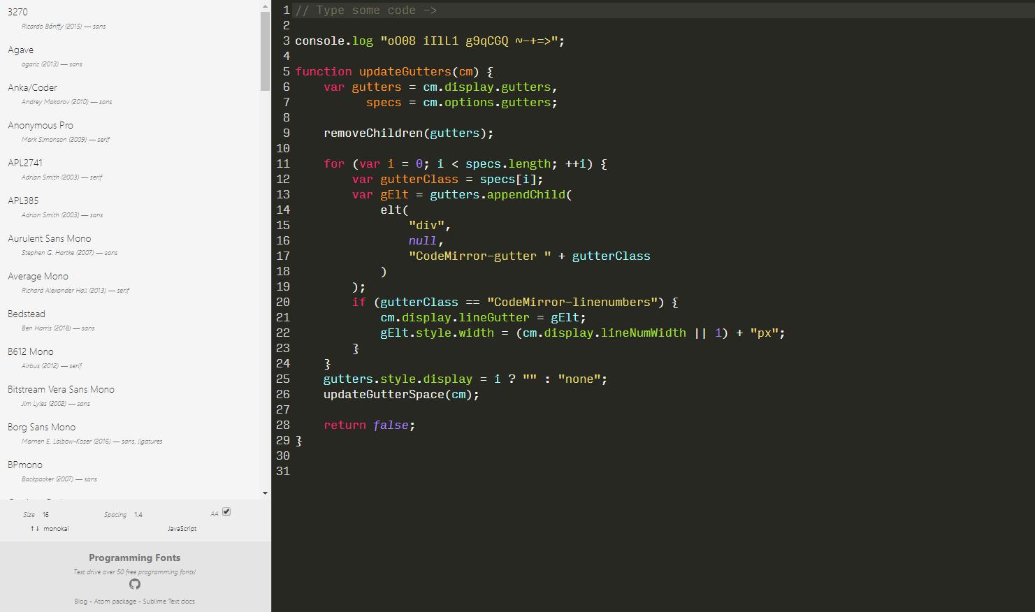 プログラミングに最適なフリーフォントを試すことができるWEBサービス「Programming Fonts」