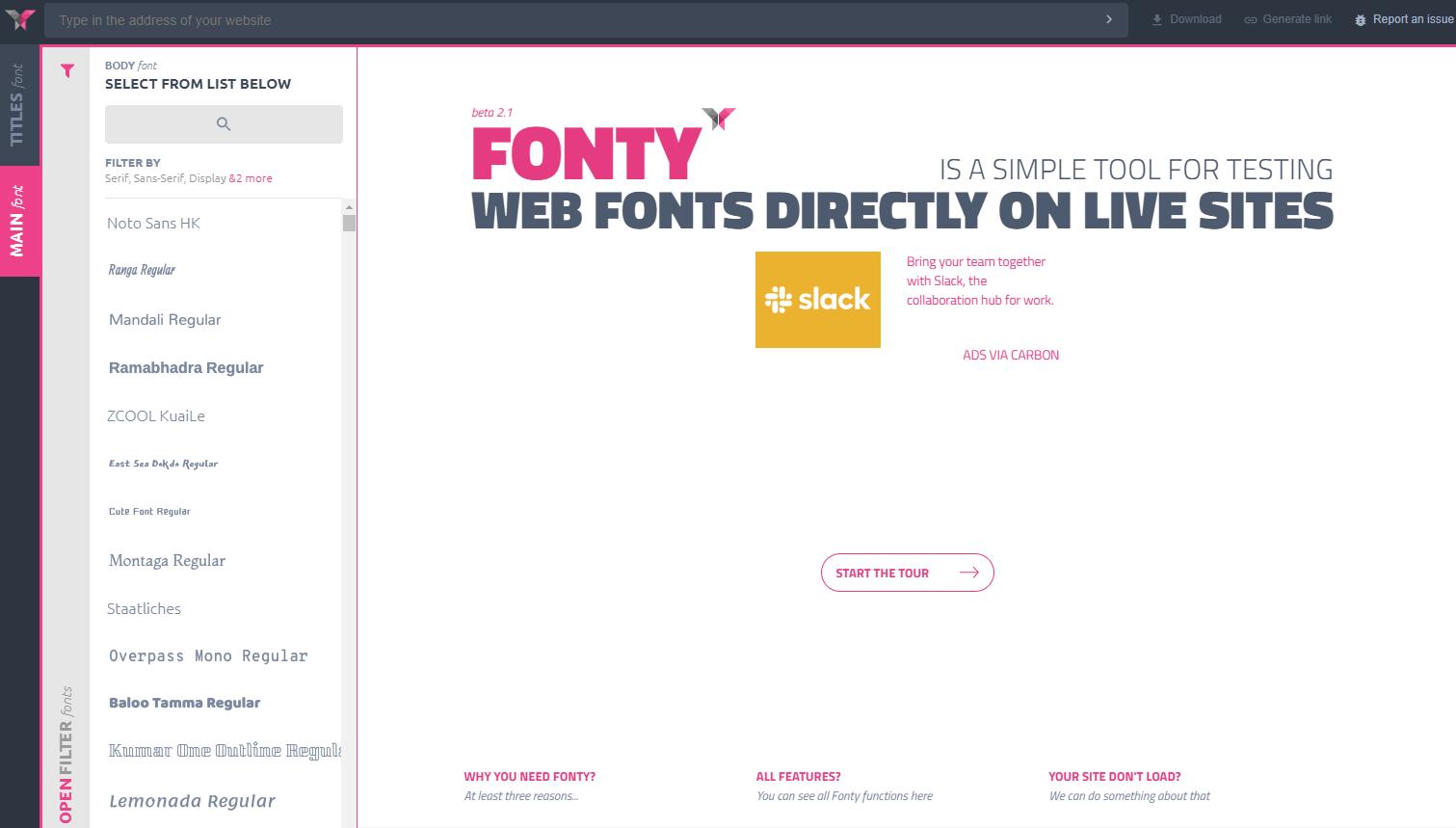 サイトにGoogle Fontsを適用した場合の見た目をプレビューできるWEBサービス「Fonty」