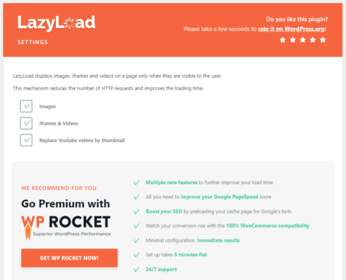 Lazy Load by WP Rocketの設定