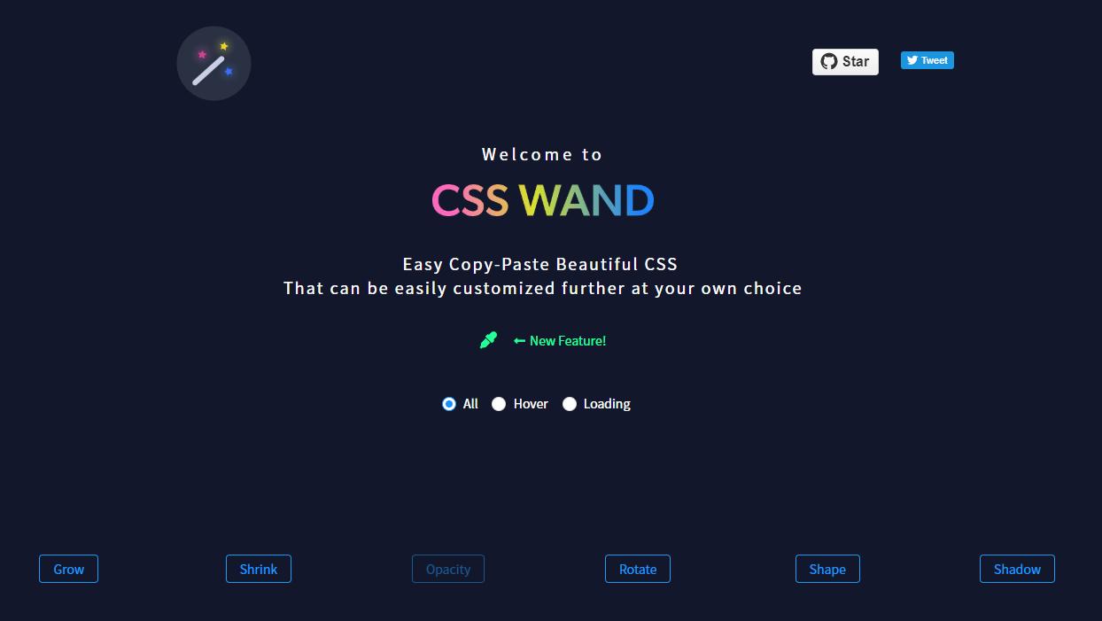 ホバーエフェクトやローディングアニメーションのHTML/CSSがまとめられているWEBサービス「CSS WAND」