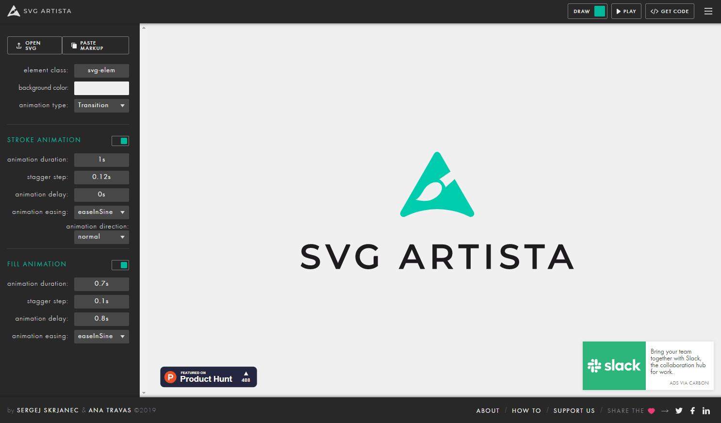 プレビューを見ながらSVGのアニメーションを作成できるWEBサービス「SVG Artista」