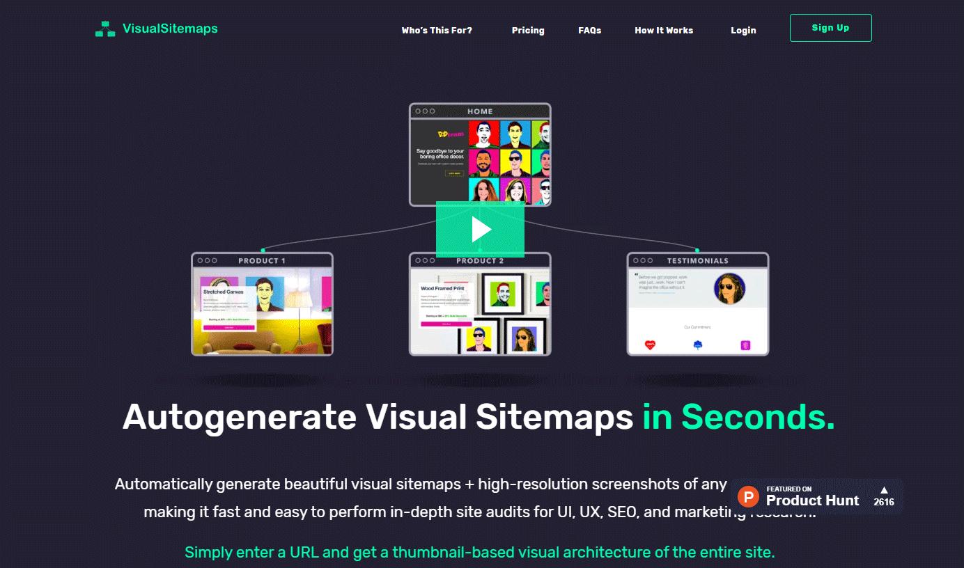 URLを入力するだけでスクリーンショット付きのサイトマップを生成してくれるWEBサービス「VisualSitemaps」