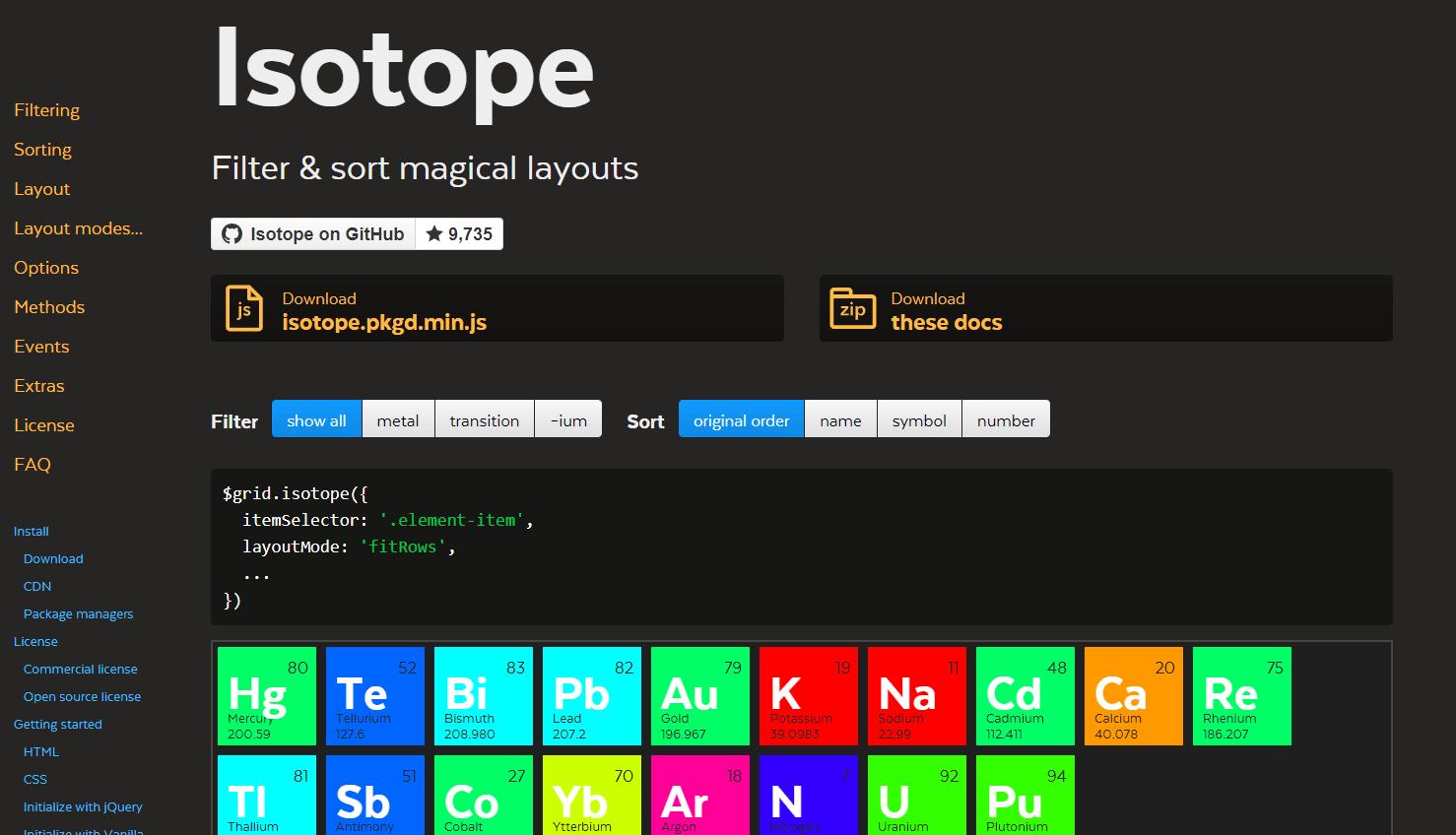 フィルタリング機能も使える!Masonry風のグリッドレイアウトに要素を並べ替えてくれるjQueryプラグイン「Isotope」