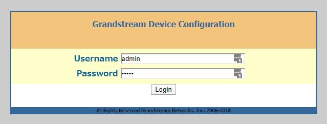 Grandstream HT801のログイン画面