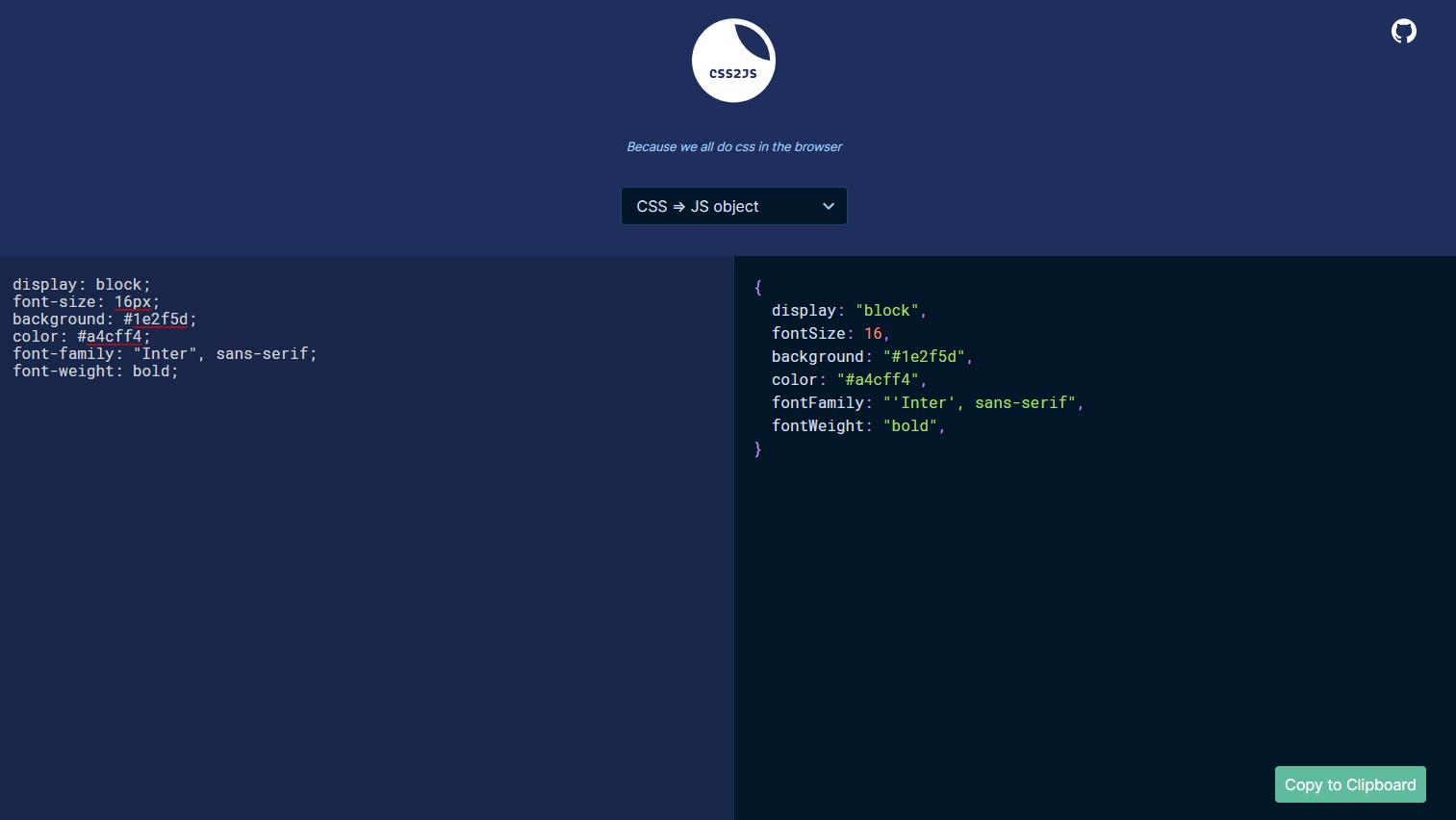 CSSをJavaScript用のコードに変換してくれるWebサービス「CSS2JS」