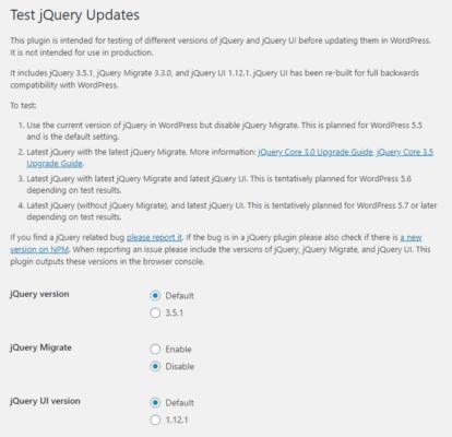 Test jQuery Updatesの設定