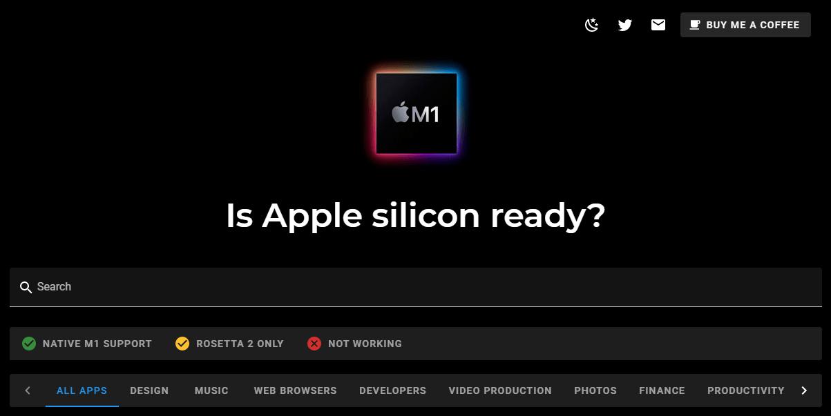 M1チップ搭載Macに対応しているアプリを確認できるサイト「Is Apple silicon ready?」