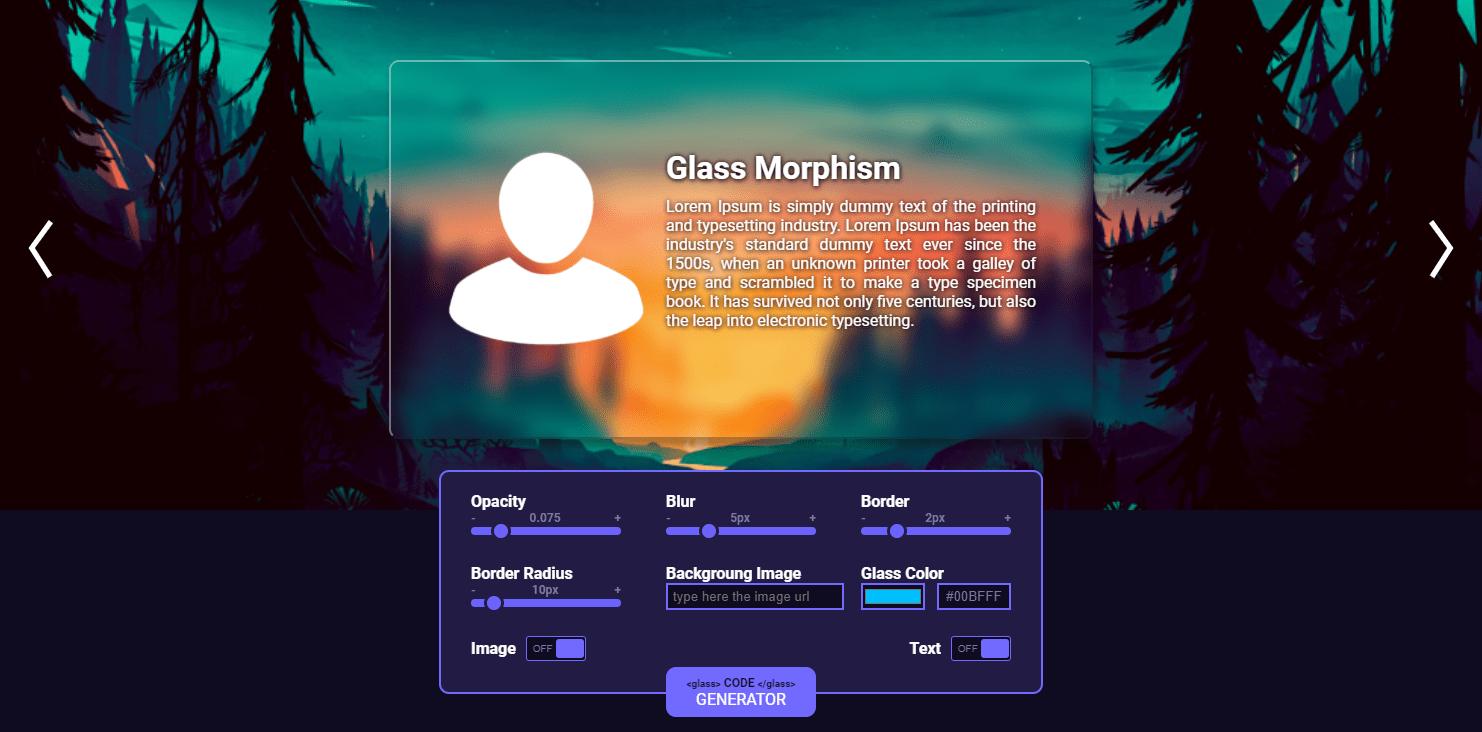 磨りガラス風背景のCSSコードを生成できるWebサービス「Glass Morphism」と「Glassmorphism CSS Generator」