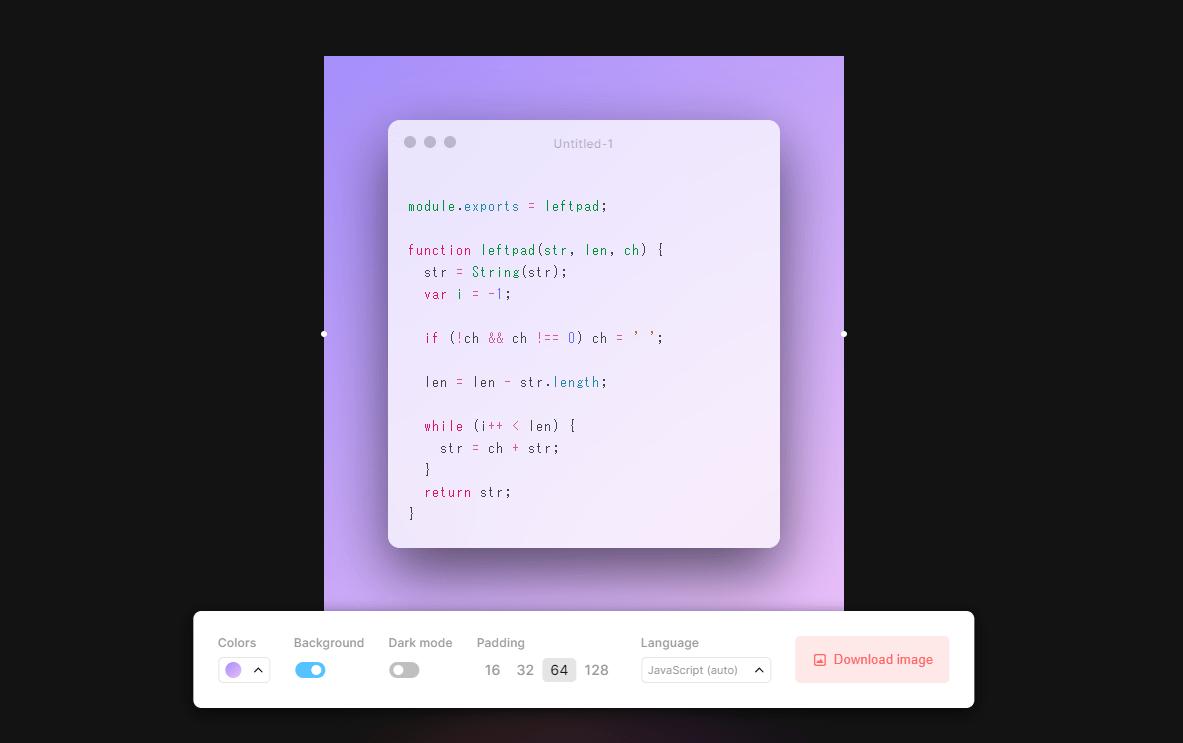 コードを綺麗な見た目で画像化してダウンロードできる「Create beautiful images of your code」