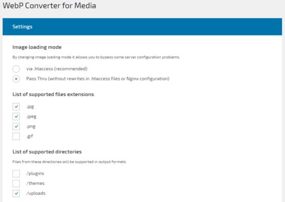 WebP Converter for Mediaの設定